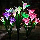 Luces LED para jardín al aire libre, flores solares, flores de lirio para exteriores con 3 unidades, 12 cabezas-7 colores y panel solar para jardín, patio, camino, fiesta, decoración de vacaciones