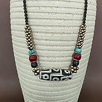 NMKAS Natürlicher Achat Dzi Schmuck Halskette Schlüsselbeinkette, 9 Augen Dzi Halskette Amulett zieht Positive Energie und viel Glück an, Unisex
