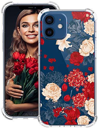 Carcasa para iPhone 12, transparente, silicona con esquinas reforzadas, carcasa con diseño de flores, protección contra golpes, TPU ultrafina, c