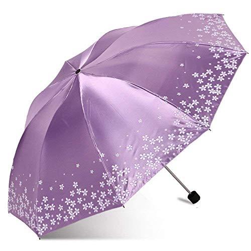 YNHNI Paraguas de doble uso al aire libre, paraguas de verano para mujer, paraguas de goma, paraguas de protección solar UV, paraguas de regalo de gama alta, portátil (color morado claro)