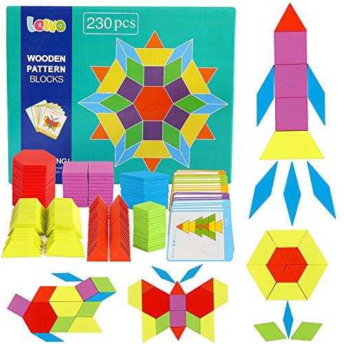Lewo 230 PCS Wooden Pattern Blocks Wooden Puzzle Blocks Classic Educational Toys Tangrams Puzzles with 230 Geometric Shape Pieces and 24 Designs