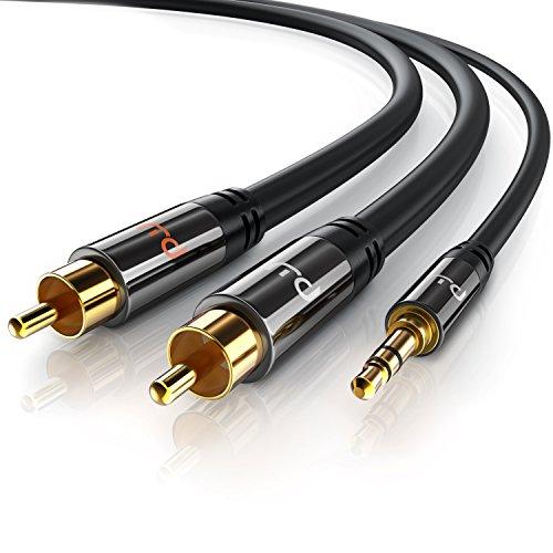 CSL - Cinch auf Klinke Kabel - 3m - 3,5mm Klinken Stecker zu 2X Cinch RCA Stecker Y - Adapterkabel Klinkenkabel - doppelte Schirmung - HiFi Audio Kabel für Smartphone Stereoanlage Verstärker UVM