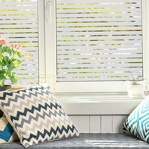 spectrum-Fensterfolie mit Streifenmuster (45x200 cm) Sichtschutzfolie Fenster mit statischer Haftung - Milchglasfolie - Fensterbilder selbsthaftend Blickdicht