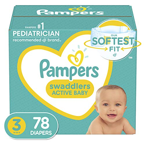 Pampers Diapers Swaddlers Disposable Baby Diapers Super Pack Packaging May Vary, 78 Count
