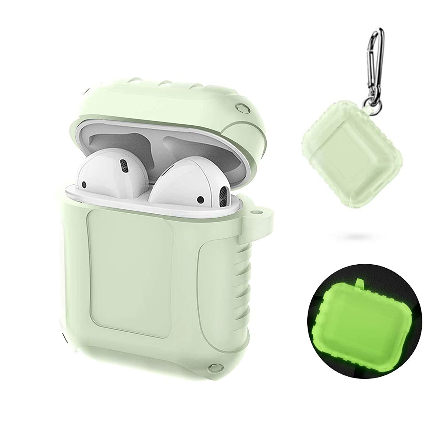 Newseego Compatible Airpods Silicone Case Waterproof Full Protective Cover and Skin Charging Case with Keychain-Glow in Dark