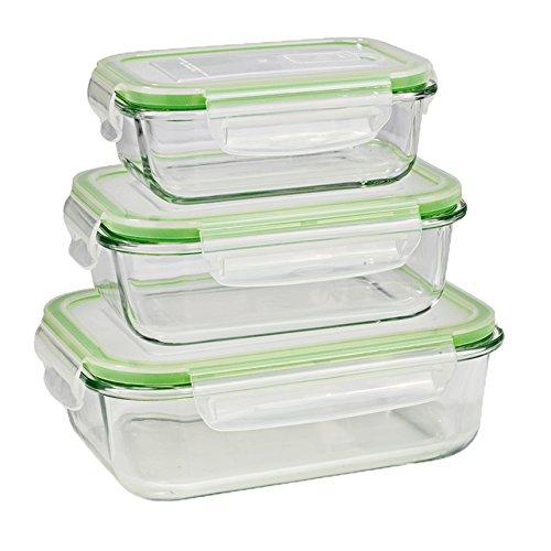 GOURMETmaxx Glas-Frischhaltedosen klick-it 6 TLG. | Spülmaschinen- Mikrowellen- und Gefrierschrankgeeignet | Deckel BPA-frei mit Silikon Dichtungsring und 4-Fach-klick-Verschluss [Limegreen]