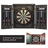 DMI Sports Bristle Dartboard Cabinet Sets - Includes LED Lighting or Electronic Scoring Option, Rustic Grey (D4400W)