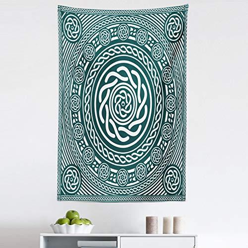 Lunarable Celtic Tapestry, Irish Circular Design Clockwise Twisty Spiral Lines Insular Art, Fabric Wall Hanging Decor for Bedroom Living Room Dorm, 30' X 45', Royal Blue White