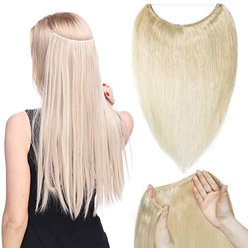 TESS Echthaar Extensions Haarteil günstig 1 Tresse Remy Haarverlängerung mit Draht Haarverdichtung Glatt 20