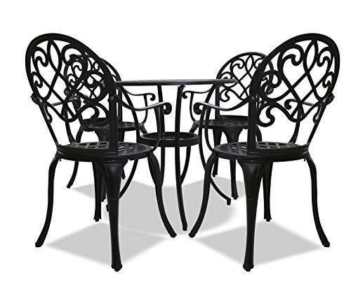 Homeology PREGO Luxurious Garden & Patio Table & 4 Large Chairs with Armrests Cast Aluminium Bistro Set - Black