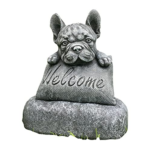 GZTH French-Bulldog Welcome on a Plinth Home or Garden Accessories Yard Garden Decor Outdoor Decoration