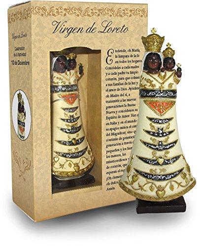Ferrari & Arrighetti Estatua Virgen de Loreto de 12 cm con Caja de Regalo y marcapáginas (en ESPAÑOL)
