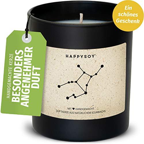 Happysoy Jungfrau Sternzeichen Duftkerze im Glas mit Spruch - handgemacht - nachhaltiges persönliches Geschenk, liebevolle Geschenkidee zum Geburtstag - Kerze mit Sternbild Himmel, Zodiac Virgo