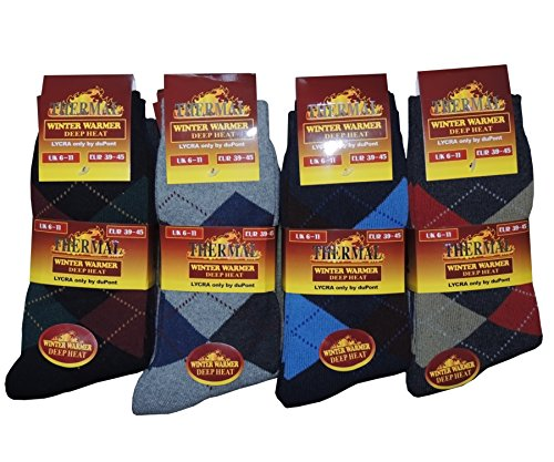12 Pairs Mens Thermal Thick Winter Socks in Various Designs Size UK 6-11...