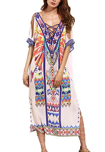 Zomerjurken dames elegante strandjurken vintage bohemen etnische stijl hippie feestelijk kleding jurk V-hals korte mouwen zonder bandjes casual zomer strrand lange jurken blousejurken voor meisjes