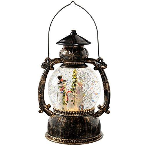 WeRChristmas Fröhliche Schneemänner Glitter Globe Laterne, 21cm–Mehrfarbig