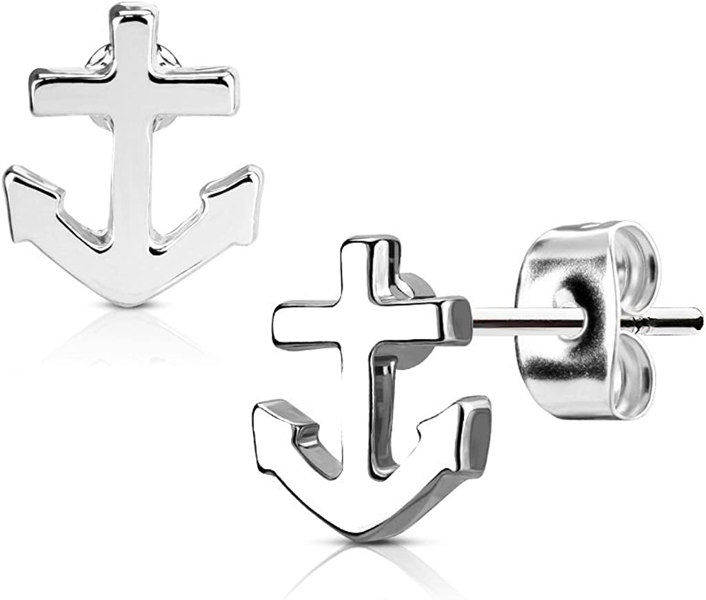 316L Surgical Steel Nautical Anchor Post Earring Studs, Sold as a Pair