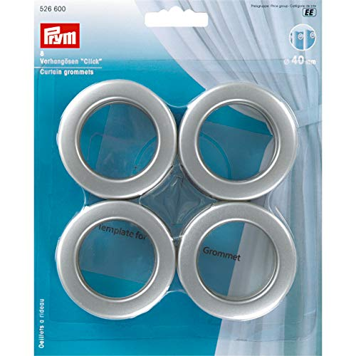 Prym Click, curtain eyelets, 40 mm, pack of 8, matt silver, plastic, silver colour.