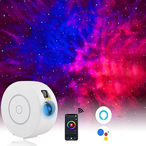 Smart Galaxy Projector Compatible with Alexa & Google Home,Voice Control Star Night Light Projector with Nebula,Sky Lights Suitable for Kids Adults,Room Decor for Bedroom/Bar/Party/Home Theatre