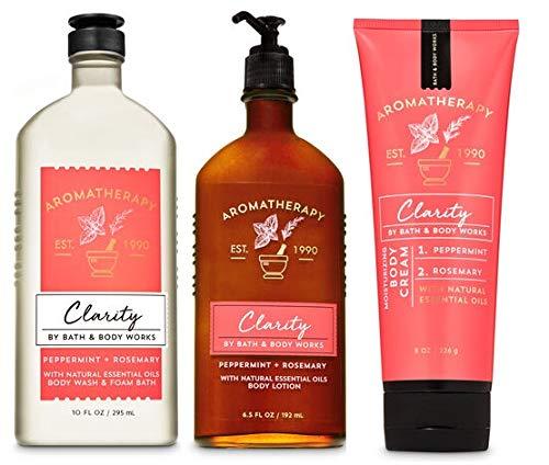 Bath and Body Works Aromatherapy CLARITY - PEPPERMINT ROSEMARY - Trio Gift Set - Body Lotion 6.5 oz, Shower Gel Foam Bath 10 oz and Body Cream 8 oz