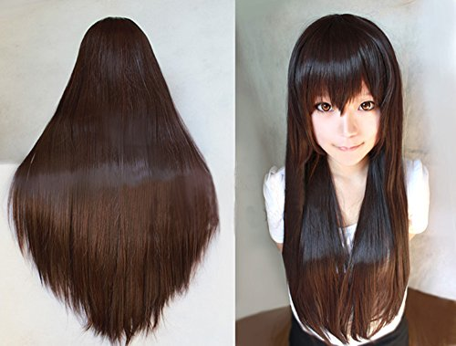 Anogol Vocaloid 32' 80cm Straight Brown Cosplay Wig Costume Party for Women