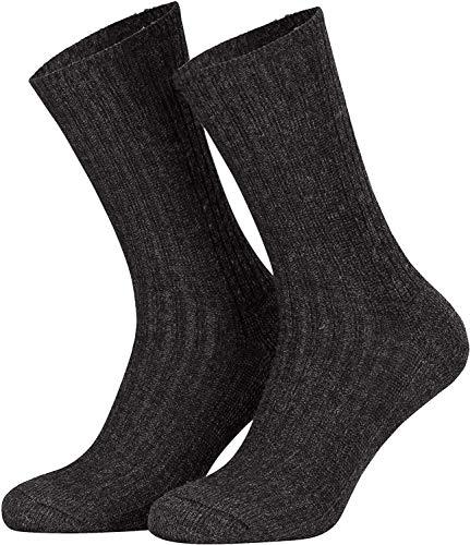 Tobeni 5 Paires de Chaussettes Hiver de Travail Norvégiennes pour Homme en Laine avec Semelle en Éponge Couleur Anthracite Taille 43-46
