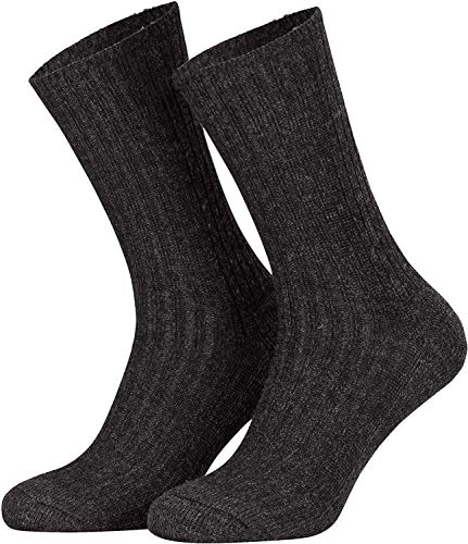 Tobeni 5 pares de calcetines noruegos de invierno con suela de terry sin goma para mujer y hombre, Color:Antracita;Talla:43-46