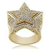 Anillo de circonita para hombre y mujer, diseño de estrella de cinco puntas, color dorado y plateado, 123, dorado, 11