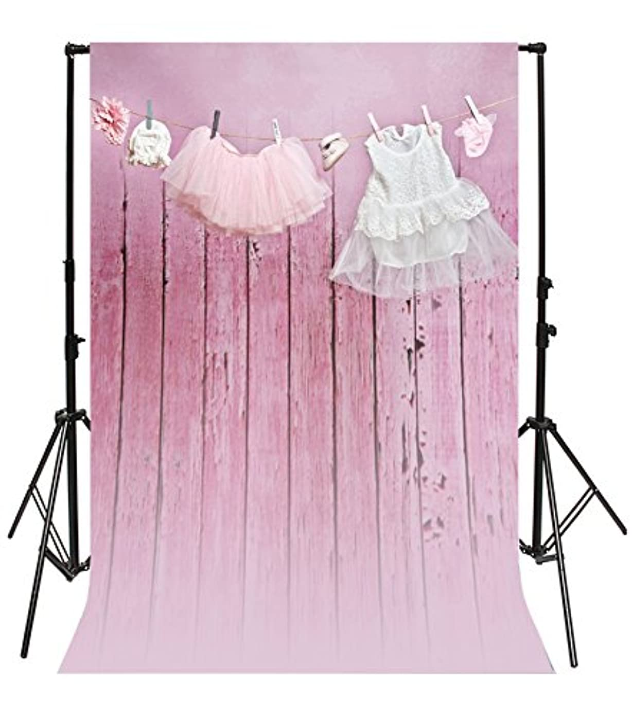 Leyiyi 3x5ft Photography Background Happy Birthday Party Backdrop Vintage Wooden Wall Girl's Dress Shoe Sock Headwear Banner Rope Clothespin Baby Shower Photo Portrait Vinyl Studio Video Prop
