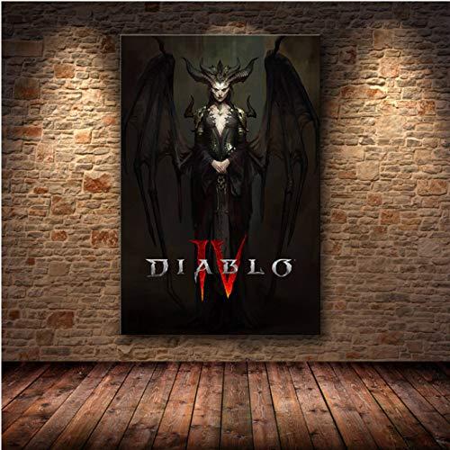 Diablo Iv Hd-Spielplakat Lilith Dormitory Home Decor Apartment Wandaufkleber Schlafzimmer Dekoration Malerei Leinwand Poster Gemälde 40X50Cm (Ds0626)