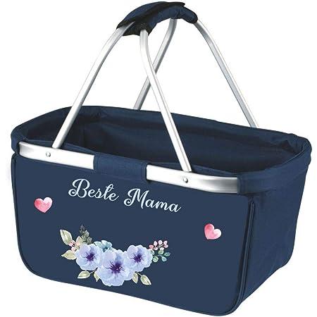 Marine Navy Blau 28 L Mein Zwergenland Faltbarer Einkaufskorb Beste Mama