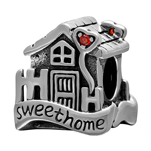 Sweet Home House Charm Solid 925 Sterling Silver Love Family Bead with Orange Cz Stone Charms
