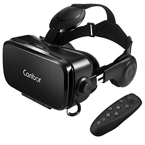 Canbor VR ゴーグル VRヘッドセット メガネ 3D ゲーム 映画 Bluetoothコントローラ付き 受話可能4.7-6.2イ...