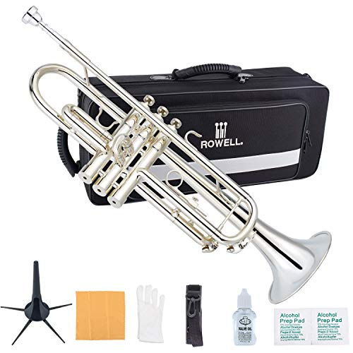 ROWELL Trumpet Bass Standard Bb Siver-Plated Trumpet Set for Student Beginner and Professional with Deluxe Hand Case,Gloves,7C Mouthpiece and Trumpet Clean Kit
