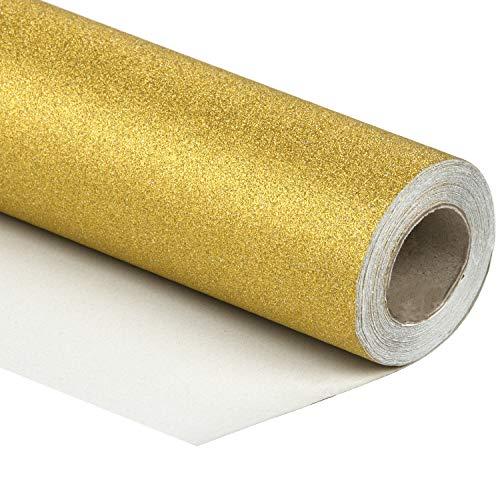 RUSPEPA Glitter Geschenkpapier - 81,5 Quadratmeter - Einfarbiges Gold Glitter Sparkle Geschenkpapier Perfekt Für Hochzeit, Geburtstag, Babyparty Geschenke -76CM X 10M