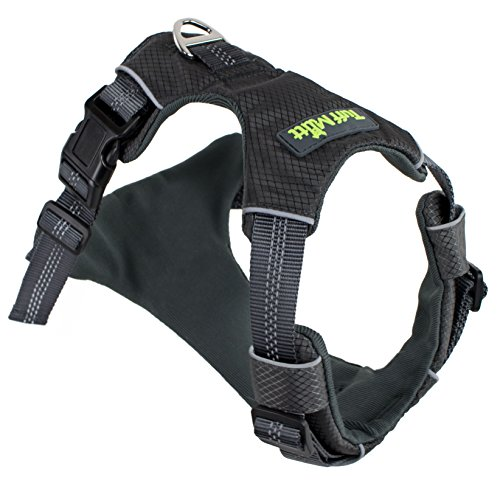 Tuff Mutt Dog Harness for Medium & Large Breeds, Easy On Easy Off with a No Pull Front Chest Clip, Walk, Run & Hike with Confidence, Stay Safe with Bright Reflective Stitching (Large/X-Large, Grey)