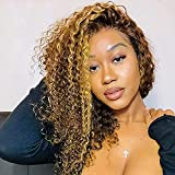 Curly 27 Human Hair Wigs Glueless Lace Front Wig With Baby Hair Pre Plucked Bleached Knots 4X4 Closure Wigs Malaysian Natural Hair Grade 9A High Density Raw Remy Human Hair Honey Blonde Wigs 20 Inch