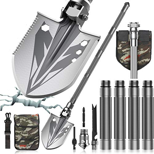 Sallia Survival Shovel, Tactical Shovel-Survival Shovel Multitool - Ultimate Survival Tool-Camping Shovel, Folding Shovel-Camping Accessories-Survival Gear (37.6in Handle, 7.08x6.30 in Shovel Head)…