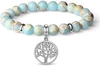 JSstudio Anxiety Gemstone Bracelet, Semi Precious Original Design Crystals and Healing Stones Yoga Beaded Bracelets for Women Girls, Chakra Bracelet