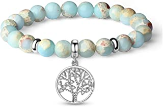 Vlinsha Anxiety Gemstone Bracelet, Semi Precious Original Design Crystals and Healing Stones Yoga Beaded Bracelets for Women Girls, Chakra Bracelet