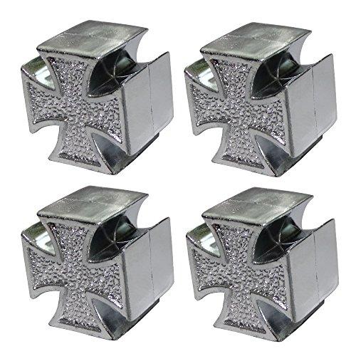 AERZETIX: 4X Tapas para valvulas para Coche Moto Bicicleta vehiculos en Forma de Cruz de Malta, Hierro Color Plata C19900