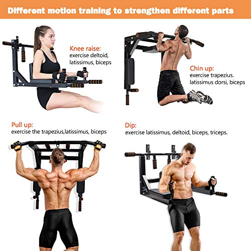 Product Image 4: Slsy Multifunctional Wall Mounte Pull Up Bar and Dip Station, Wall Mounted Chin Up Bar for Home Gym, Power Tower for Home Gym, Supports to 600 Lbs