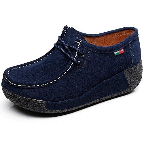 rismart Mujer Zapatos Formal Plataforma Oculto Tacón Cuña Gamuza Zapatillas De Moda Azul,38 EU