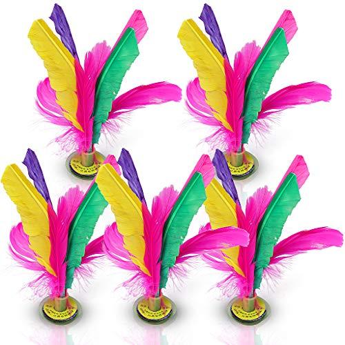 Confezione da 5 Piume colorate Jianzi cinese che calcia il gioco di esercizio del piede del volano