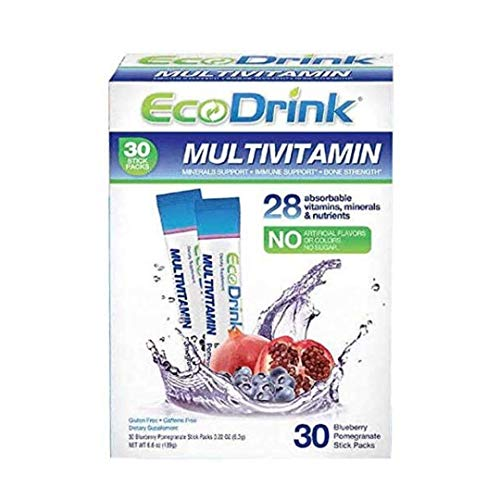 EcoDrink Complete Multivitamin Mix Drink Blueberry Pomegranate Flavor  30 Count Refill Pack Bottle not included