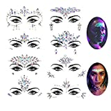 Le Fu Li 8 Sets Noctilucent Face Gems Luminous Temporary Tattoo Stickers Acrylic Crystal Glitter Stickers Waterproof Face Jewels Rainbow Tears Rhinestone for Party, Rave Festival