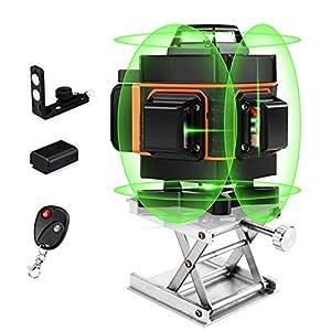 4D Láser Nivel, 360 Láser Nivel 16 Líneas 4D Verde Haz Auto Nivelante Con Mando a Distancia, Conmutable Vertical/Horizontal Líneas, 4000mAh Pila Recargable