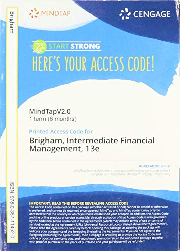 MindTapV2.0 Finance, 1 term (6 months) Printed Access Card for Brigham/Daves' Intermediate Financial Management