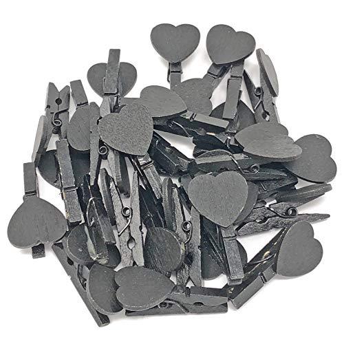 30mm schwarz Mini-Wäscheklammern mit passenden 18mm schwarz Herzen Craft für Shabby Chic Hochzeit 50Stück