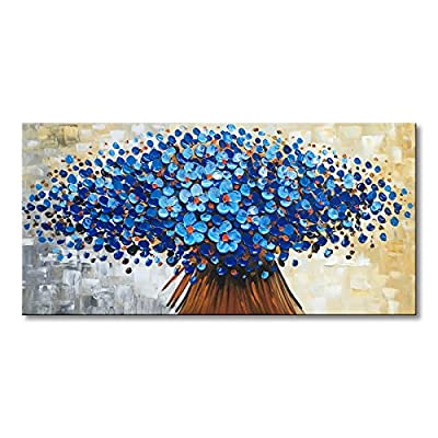 Winpeak Art Hand Painted Abstract Canvas Wall Art Modern Textured Flower Oil Painting Contemporary Artwork Floral Hangings Stretched and Framed Ready to Hang from Winpeak Art